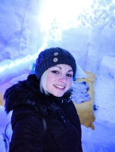 In one of the Ice Hotel rooms